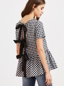Black And White Checkered Bow Split Back Peplum Top