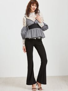 Black And White Checkered Peplum Cold Shoulder Top