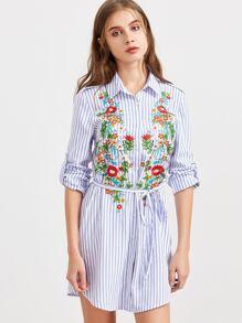 Blue Striped Flower Embroidered Shirt Dress With Belt