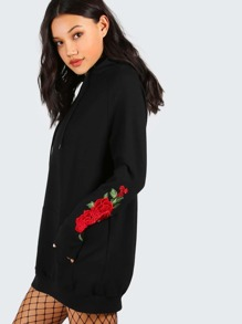 Black Drop Shoulder Embroidered Rose Sleeve Hoodie