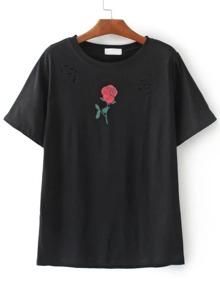 Black Flower Print Ripped Detail T-shirt