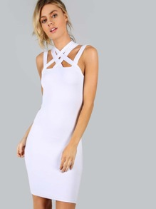 White Caged Neck Bodycon Dress