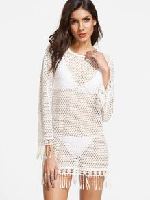 White Fringe Trim Side Slit Hollow Out Cover Up Top