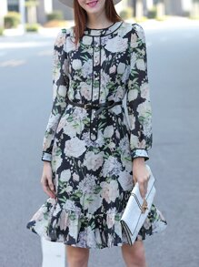 Black Flowers Print Belted Shift Dress
