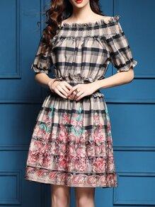 Khaki Elastic-Waist Plaid Embroidered Dress