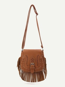 Brown Fringe Hem Buckle PU Shoulder Bag