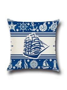 Blue Ship Print Cushion Cover
