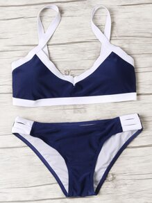 Navy Contrast Trim Ladder Cutout Bikini Set