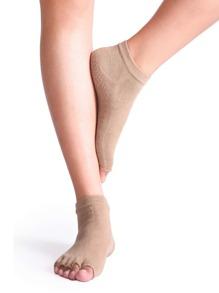 Khaki Half Toe Yoga Socks