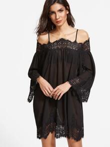 Black Floral Lace Trim Cold Shoulder Semi Sheer Dress