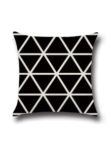 Black Geometric Print Cushion Cover