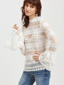 White Bell Sleeve Hollow Out Embroidered Lace Top