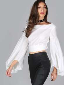 Lantern Sleeve Crop Top OFF WHITE