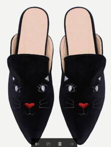 Apricot Cat Embroidery Point Toe Slippers