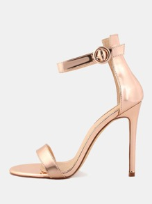 Open Toe Metallic Single Sole Heels ROSE GOLD
