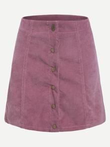 Pink Button Up A Line Skirt