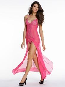 Pink Lace Insert Slit Maxi Slip Dress