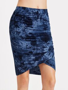 Navy Tie Dye Print Ruched Wrap Skirt