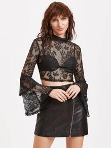 Black Bell Sleeve Sheer Floral Lace Top