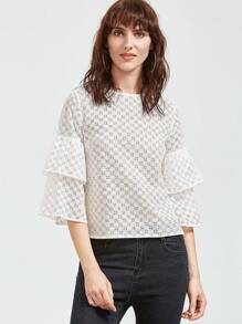 White Layered Bell Sleeve Eyelet Embroidered Top