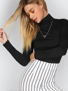 Black Turtleneck Ribbed Slim Fit T-shirt