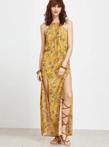Yellow Floral Split Side Maxi Dress