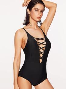 Black Criss Cross Plunge Neck One-Piece Swimwear