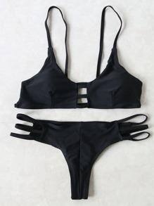 Black Ladder Cutout Push Up Bikini Set