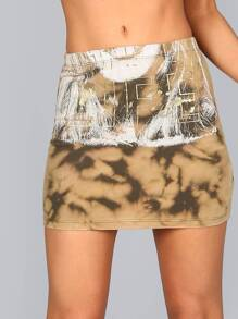 Bleached Tie Dye Graphic Skirt OLIVE