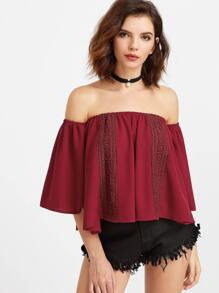 Burgundy Off The Shoulder Crochet Trim Top