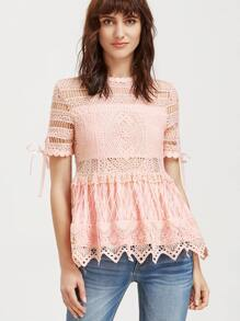 Pink Hollow Out Embroidered Lace Peplum Top