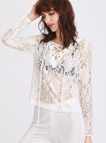 White Lace Up V Neck Sheer Lace Blouse