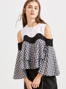Color Block Cold Shoulder Bell Sleeve Swing Checkered Top