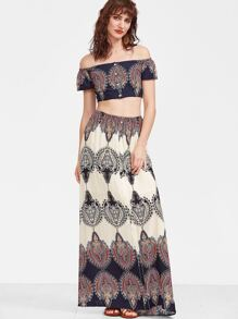 Multicolor Vintage Print Off The Shoulder Crop Top With Maxi Skirt