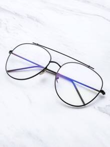 Black Frame Clear Lens Double Bridge Glasses