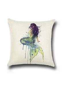 Beige Mermaid Print Linen Cushion Cover