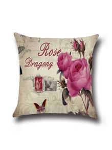 Beige Rose Print Linen Cushion Cover