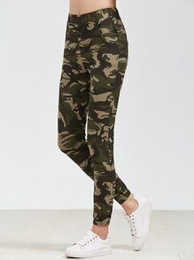 Camo Print Elastic Waist Pants