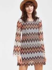 Multicolor Hollow Out Chevron Crochet Dress