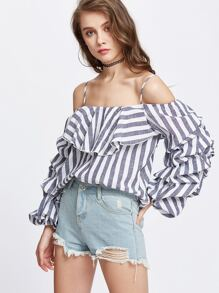 Navy White Striped Cold Shoulder Billow Sleeve Ruffle Top