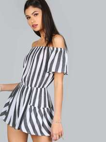 Off Shoulder Stripe Romper BLACK MULTI