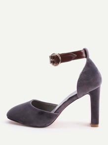 Grey Ankle Strap Stiletto Heels
