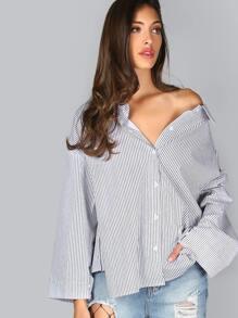 Black And White Striped Off The Shoulder Split Back Blouse