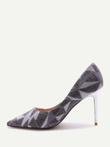 Grey Print Pointed Toe Stiletto Heels
