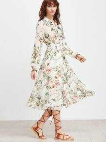 White Floral Shirt Dress With Self Tie