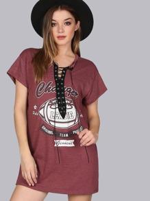 Lace Up Sporty T-Shirt Dress BURGUNDY