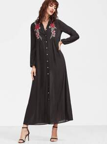 Black Embroidered Rose Patch Button Up Shirt Dress