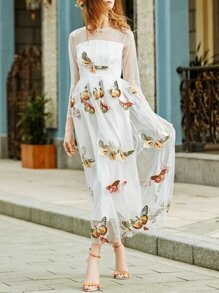 White Butterfly Applique Gauze Maxi Dress