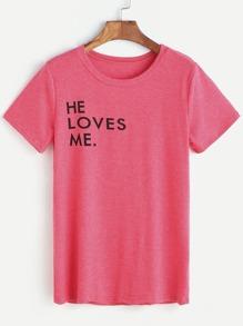 Hot Pink Letter Print T-shirt