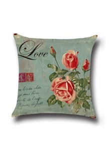 Blue Rose Print Linen Cushion Cover